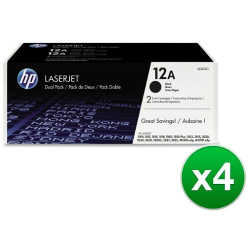 HP 12A Black Original LaserJet Dual Toner Cartridge (Q2612D)(4-Pack)