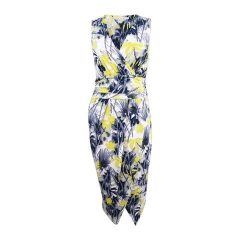 Rachel Rachel Roy Women's Palm Toss Surplice Wrap Dress (L, Yellow Palm Toss) - Yellow Palm Toss - L