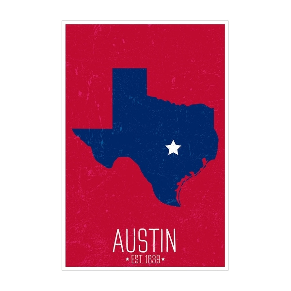 Austin, Texas - Capital Pride State Outline - 24x36 Matte Poster Print Wall Art