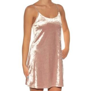Womens Pink Spaghetti Strap Micro Mini Shift Dress Size: 1