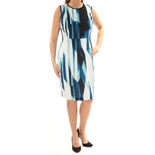 CALVIN KLEIN $134 Womens 1508 Blue Striped Crew Neck Sheath Career Dress 4 B+B