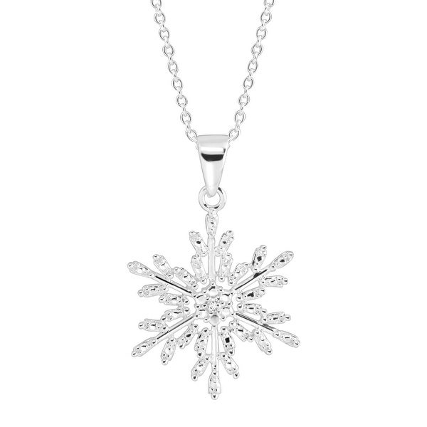 Snowflake Pendant with Diamond in Sterling Silver
