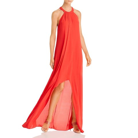 BCBG Max Azria Womens Formal Dress Hi-Low Halter - Jewel Red