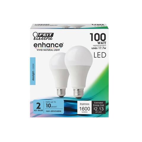 Feit Electric OM100/950CA10K2 Enhance A-Line LED Light Bulbs, 17.7 Watts, 120 Volts