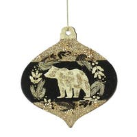"""4"""" Gold and Black Woodland Bear Silhouette Onion Christmas Ornament"""