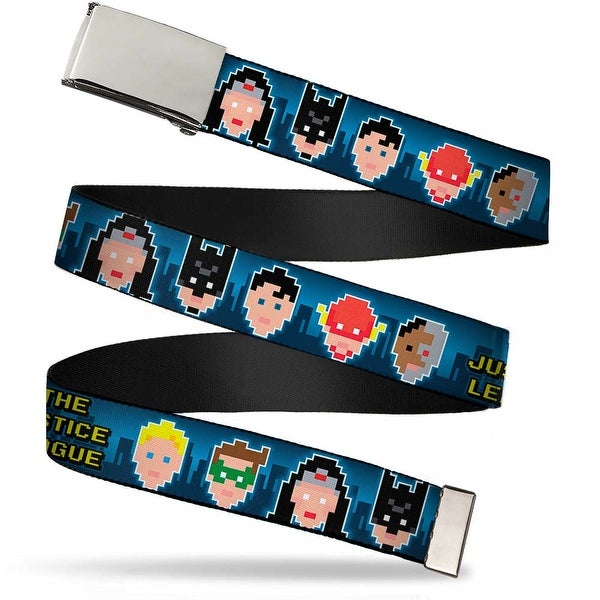 Blank Chrome Buckle The Justice League 1 Bit 7 Superhero Faces Blues Web Belt