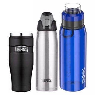 Thermos Vacuum Insulated 16oz Travel Tumblr (Black) with Two Hydration Bottles