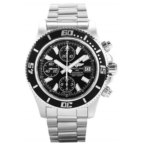 Breitling Men's A1334102-BA84-134A 'Superocean' Chronograph Gold-Tone Stainless Steel Watch - Black