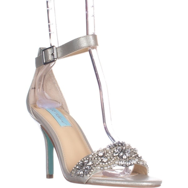 Betsey Johnson Gina Embellished Ankle Strap Dress Sandals, Silver