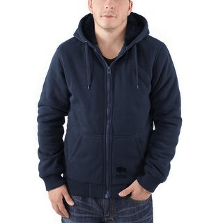 Buffalo By David Bitton Fedgad Faux-Shearling Hoodie Jacket Small S Navy