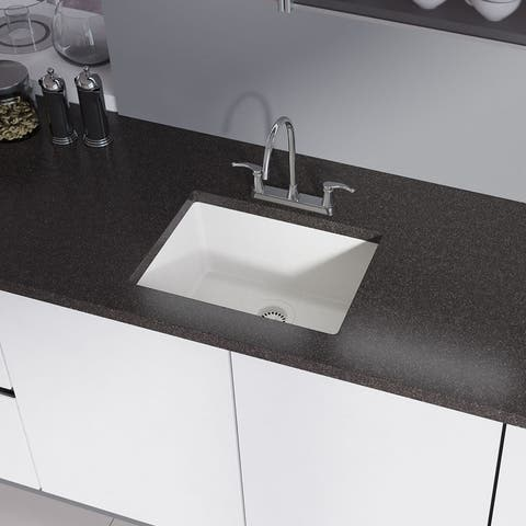R3-1004 Single Bowl Granite Quartz Kitchen Sink with Grid and Matching Colored Strainer