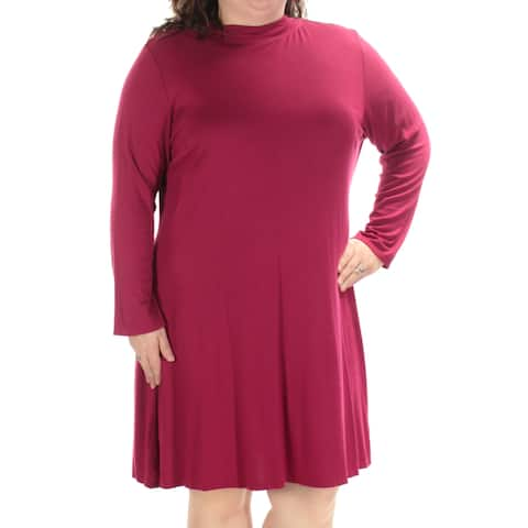 LOVE SQUARED Womens Burgundy Long Sleeve Turtle Neck Knee Length A-Line Dress Plus Size: 2X