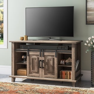 Link to WAMPAT Farmhouse Sliding Barn Door Wood TV Stand Storage Cabinet Similar Items in TV Consoles