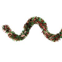 12' Green and Red Wide Cut Christmas Tinsel Garland - Unlit