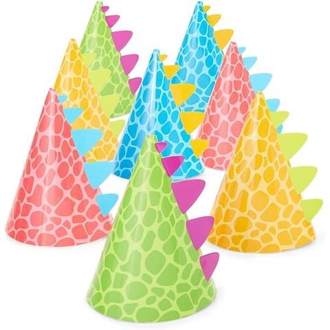 Dinosaur Party Hats for Kids Birthday, Cone Party Hats (4.75 x 7 In, 24 Pack)