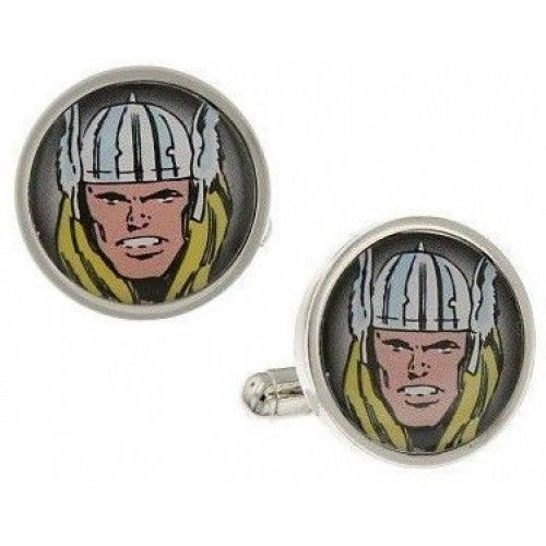Thor Silver-Tone God Of Thunder Marvel Superhero Cufflinks