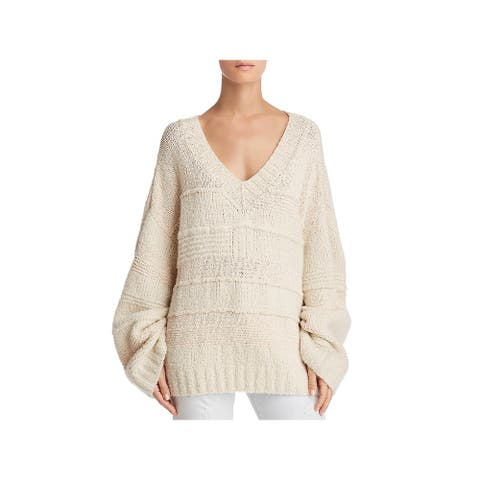 Elizabeth and James Womens Torry Sweater Cashmere Blend Oversized - Creme - M