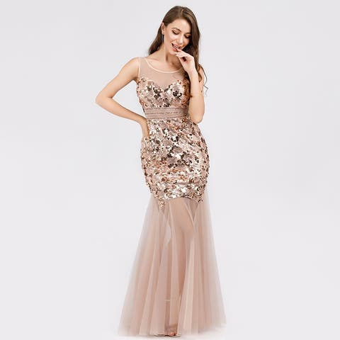 Ever-Pretty Women's Mermaid Sequin Tulle Evening Porm Party Dresses for Women 07922