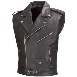 Men Motorcycle Biker Leather Vest Classic Style Black V111