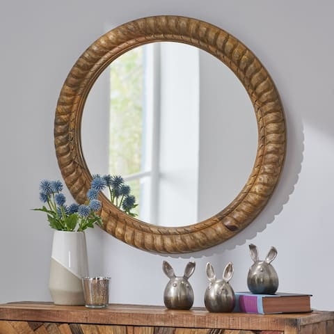 """Vanlue Traditional Handcrafted Round Mango Wood Wall Mirror by Christopher Knight Home - 24.00"""" L x 1.00"""" W x 24.00"""" H"""