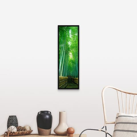 """""""Path Through Bamboo Forest Kyoto Japan"""" Black Float Frame Canvas Art"""