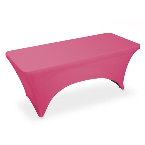 6' Rectangular Spandex Fitted Tablecloth - Fuchsia by Lann's Linens