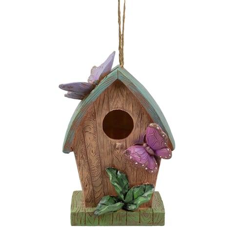"10"" Brown and Green Hanging Birdhouse with Butterflies Outdoor Garden Decor"