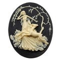 Lucite Oval Cameo - Black With Ivory Art Deco Lady Of The Forest 40x30mm (1) - Thumbnail 0