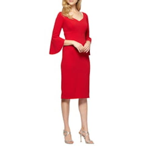 ALEX EVENINGS Red Bell Sleeve Below The Knee Sheath Dress Size 14