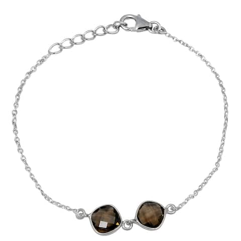 Smoky Quartz Sterling Silver Cushion Chain Bracelet by Orchid Jewelry