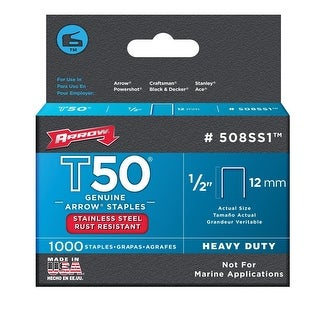 Arrow 508SS1 Stainless Steel T50 Staples, 1/2""