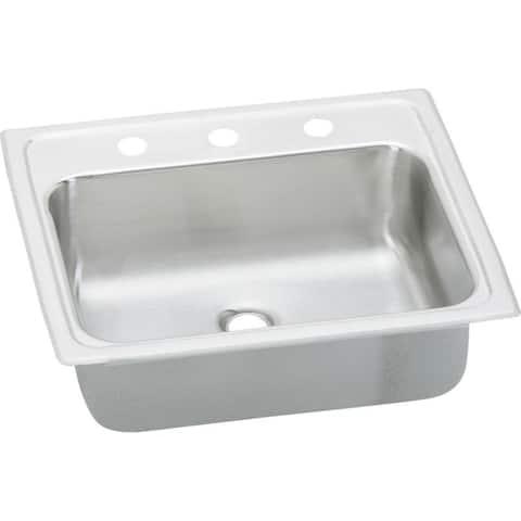 Elkay Celebrity 19-In 20 Gauge Stainless Steel Single-Bowl Drop-In Bathroom Sink - Three holes