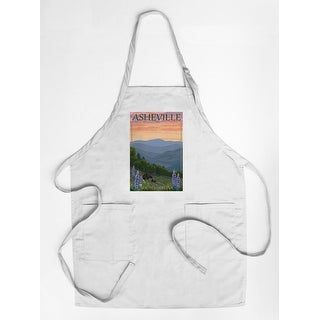Asheville, North Carolina - Bear and Cubs with Flowers - Lantern Press Artwork (Cotton/Polyester Chef's Apron)