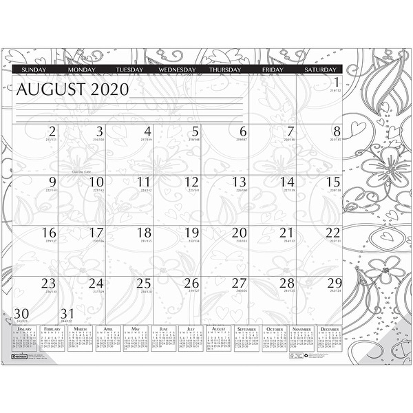 """Academic Monthly Desk Pad Calendar, Black & White Doodle, 12 Month August-July, 18-1/2"""" x 13"""" - One Size. Opens flyout."""
