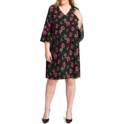 Jessica Howard Womens Plus Shirtdress Polka Dot Bell Sleeve