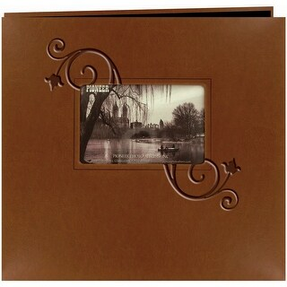"Pioneer Embossed Leatherette Post Bound Album 12""X12""-Brown W/Floral - Brown"