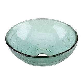 Glass Vessel Sink with Drain Frosted Green Tempered Glass Mini Bowl Sink Circle Design