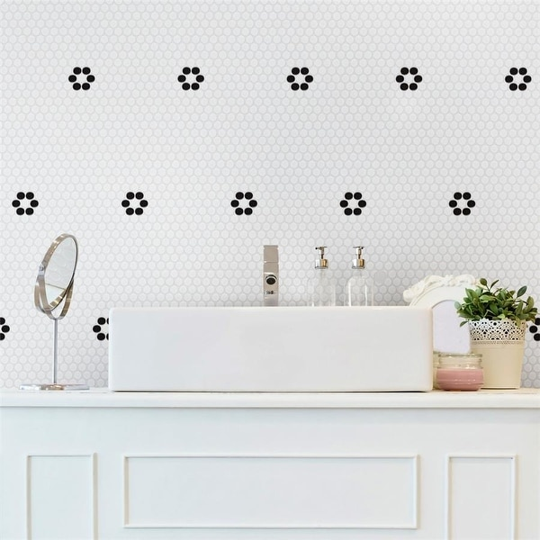 """SomerTile Metro Penny White with Black Flower 9.75"""" x 11.5"""" Porcelain Mosaic Floor and Wall Tile. Opens flyout."""