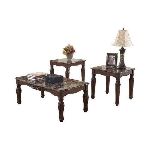 Ashley T533-13 North Shore Dark Brown Occasional Table Set
