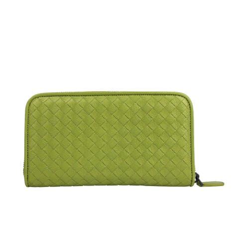 Bottega Veneta Women's Zip Around Metallic Green Leather Wallet 132358 7316 - One size