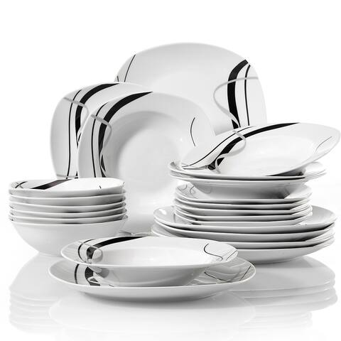 VEWEET 'Fiona' Porcelain Dinnerware Set (Service for 6)