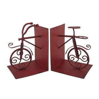 Red Retro Bike Front and Half Vintage Look Metal Bookends Set of 2