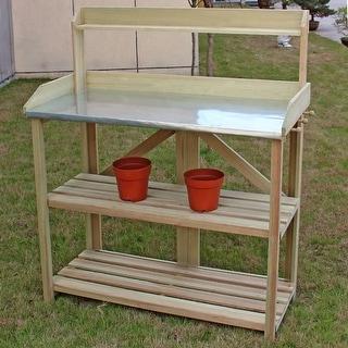 Costway Outdoor Garden Wooden Potting Work Bench Station Planting Workbench W/ 3 Shelf - Wood