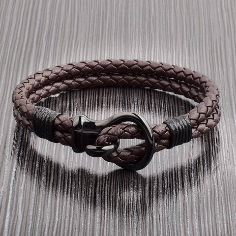 Men's Stainless Steel Hook Clasp Leather Bracelet (10mm Wide)