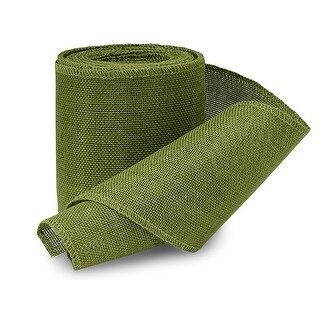 """Pack Of 1, Green Leaf 4"""" X 10 Yards Solid Woven Faux Burlap Ribbon For Gift Baskets & Decorating, Art, Craft, Wreaths, Large Bow"""