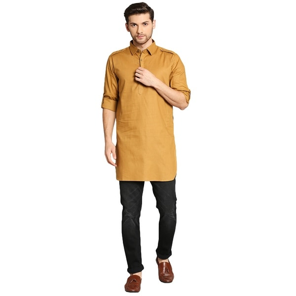 In-Sattva Mens Pathani Rollup Sleeve Kurta Tunic with Shoulder Strap