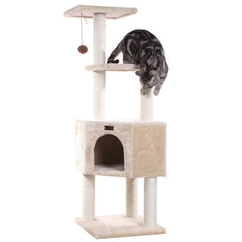 """Armarkat 3 Levels Cat Tower, Beige, 48"""" Height, for Kittens Play"""