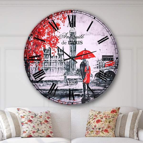 Designart 'Couples Walking in London' Vintage Large Wall CLock. Opens flyout.