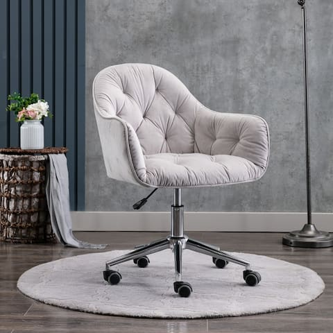 Hernals 32-36 inch Velvet Contemporary Tufted Adjustable Home Office Chair by Corvus