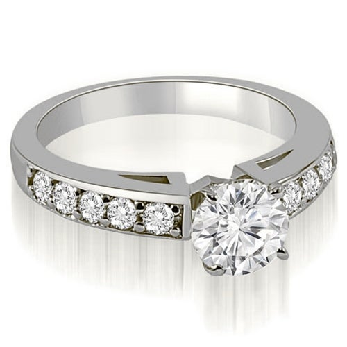 0.90 cttw. 14K White Gold Round Cut Diamond Engagement Ring